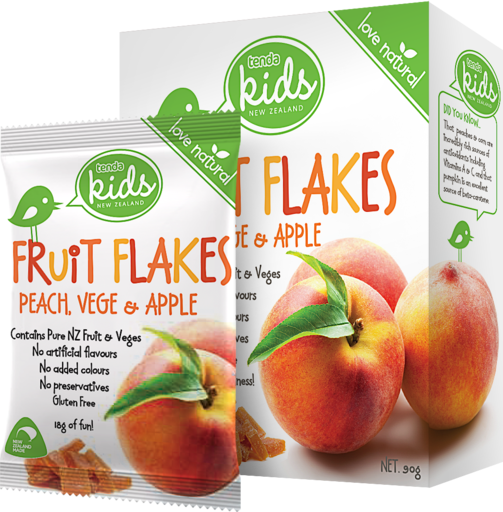 Tenda Fruit Flakes Peach Vege & Apple Packaging Image