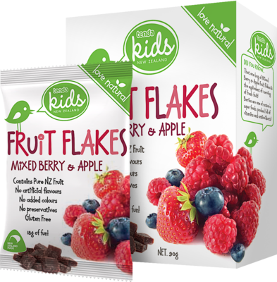 Tenda Fruit Flakes Mixed Berry & Apple Packaging Image